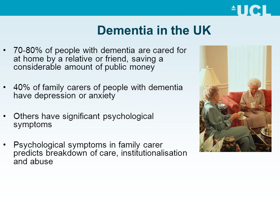 Policy context NICE - psychological therapy for family dementia carers is key component of high quality dementia care (Dementia Guidelines) MSNAP - quality standards recommend psychosocial interventions for family carers as a key dementia care component However – Limited resources available in practice Range of interventions currently offered: Dementia specific education Coping strategies based therapies Behavioural management techniques Supportive therapy Both group and individual formats