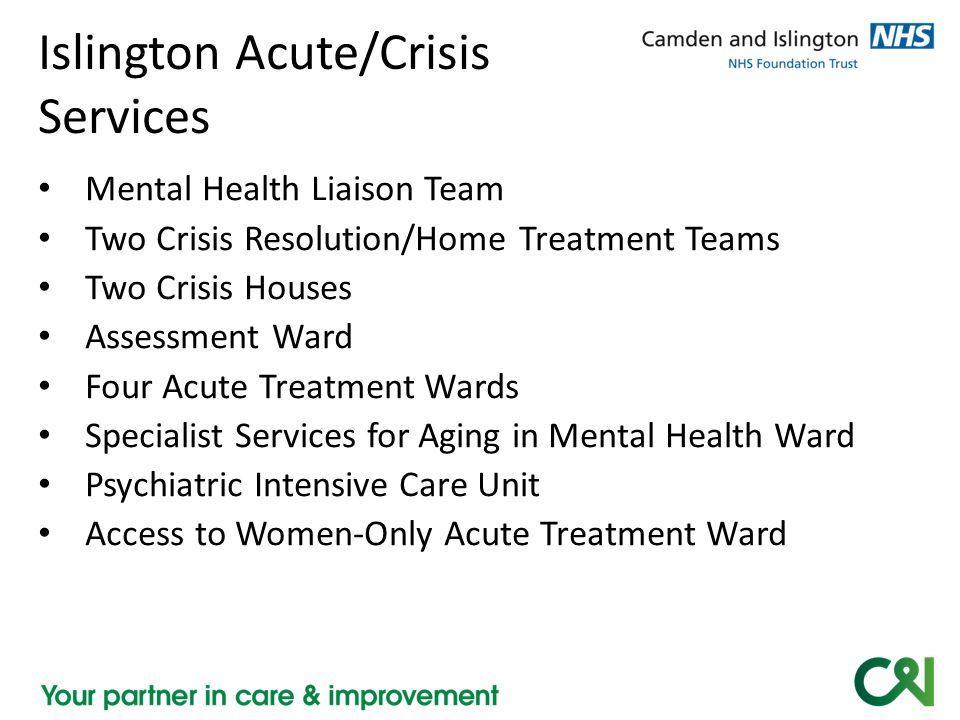 Unique challenges for acute/crisis Confidentiality – When paranoia interrupts close, positive relationships – Assessing service user's reasons for denying carer involvement – Confidentiality of carer disclosure Sharing information – Pre-admission advance directives – Carer disclosure leading to MHA assessment – Leave, discharge arrangements – Complex categories: General, personal, personal-sensitive Carer expectations of acute admissions Separation—temporary and longer term Family/social network dysfunction, abuse, absence Young carers Out-of-area carers