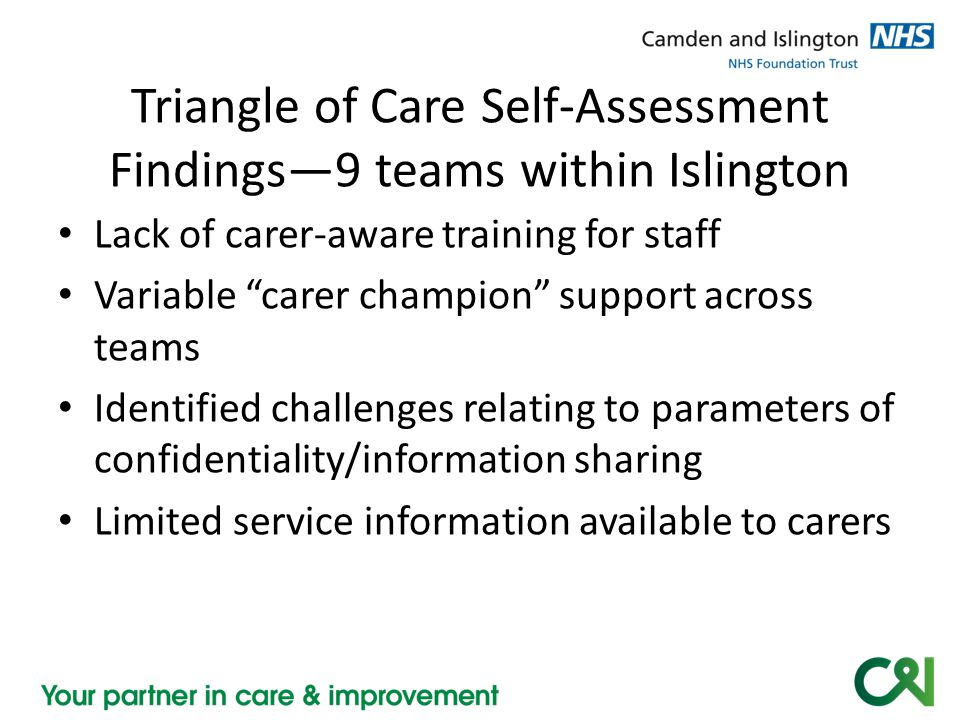 "Triangle of Care Self-Assessment Findings—9 teams within Islington Lack of carer-aware training for staff Variable ""carer champion"" support across tea"