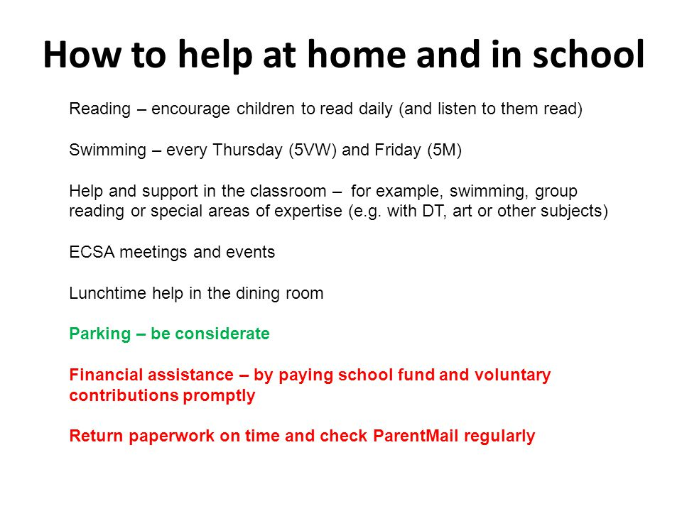 How to help at home and in school Reading – encourage children to read daily (and listen to them read) Swimming – every Thursday (5VW) and Friday (5M) Help and support in the classroom – for example, swimming, group reading or special areas of expertise (e.g.