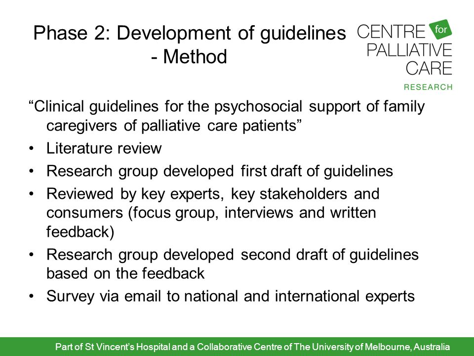 "Phase 2: Development of guidelines - Method ""Clinical guidelines for the psychosocial support of family caregivers of palliative care patients"" Litera"