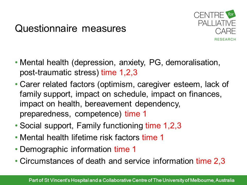 Questionnaire measures Mental health (depression, anxiety, PG, demoralisation, post-traumatic stress) time 1,2,3 Carer related factors (optimism, care