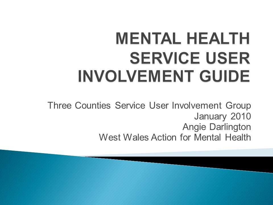 Three Counties Service User Involvement Group January 2010 Angie Darlington West Wales Action for Mental Health