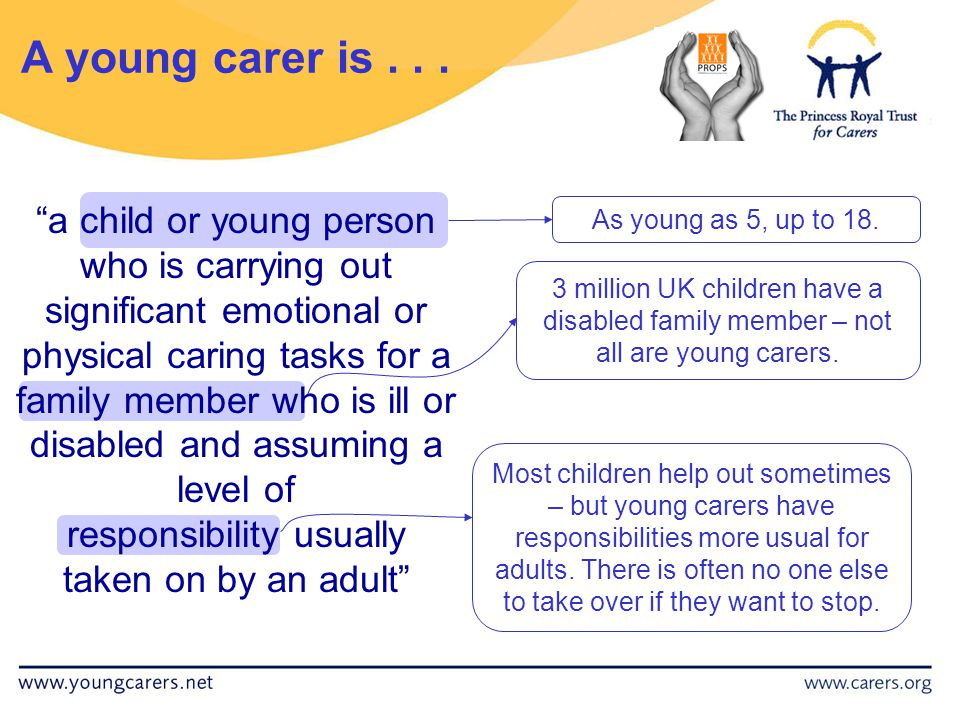 National perspective 50,000 children and young people in the UK look after someone with a mental health problem.