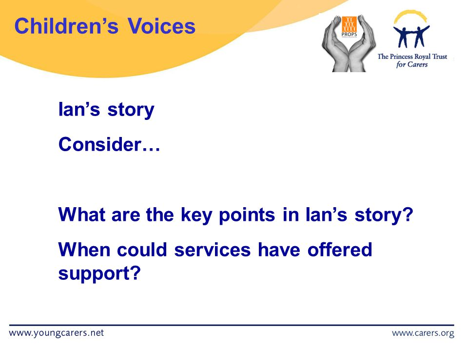 Children's Voices Ian's story Consider… What are the key points in Ian's story.