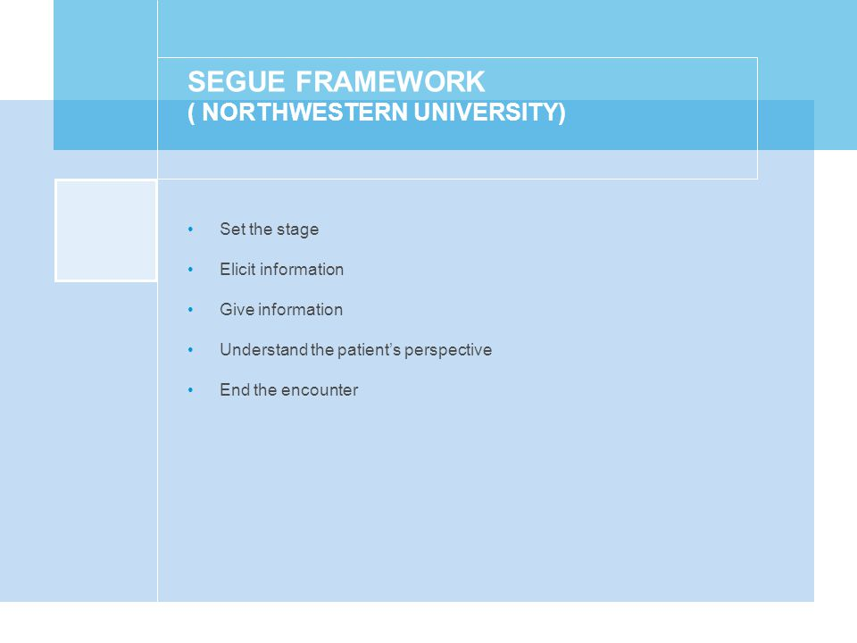 SEGUE FRAMEWORK ( NORTHWESTERN UNIVERSITY) Set the stage Elicit information Give information Understand the patient's perspective End the encounter