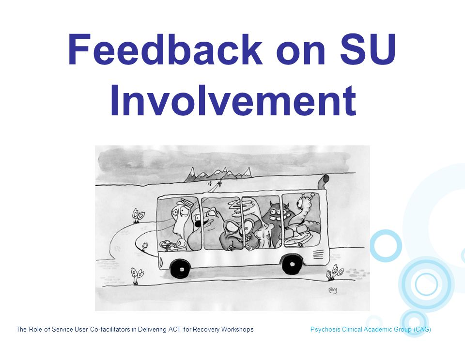 Feedback on SU Involvement The Role of Service User Co-facilitators in Delivering ACT for Recovery Workshops Psychosis Clinical Academic Group (CAG)
