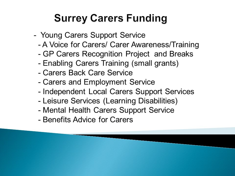 - Young Carers Support Service - A Voice for Carers/ Carer Awareness/Training - GP Carers Recognition Project and Breaks - Enabling Carers Training (s