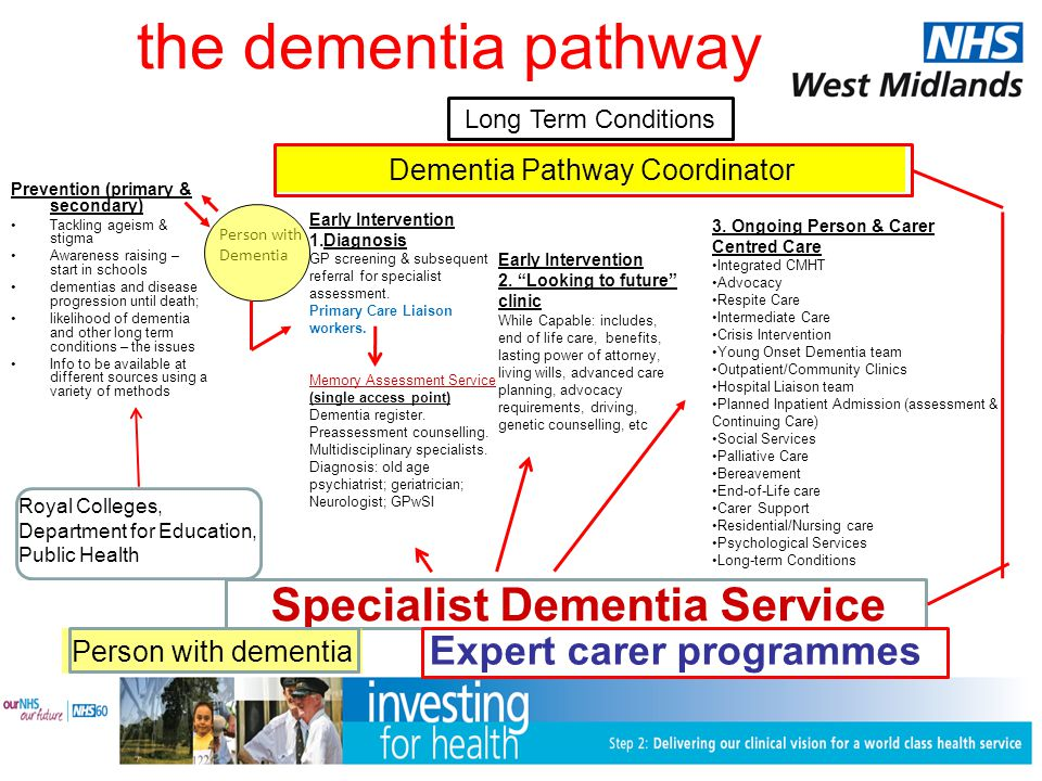 the dementia pathway Prevention (primary & secondary) Tackling ageism & stigma Awareness raising – start in schools dementias and disease progression until death; likelihood of dementia and other long term conditions – the issues Info to be available at different sources using a variety of methods Early Intervention 1.Diagnosis GP screening & subsequent referral for specialist assessment.