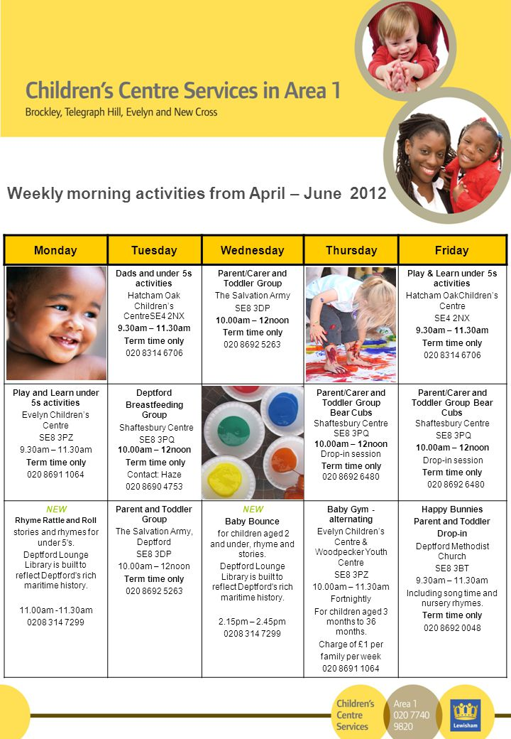 Weekly morning activities from April – June 2012 MondayTuesdayWednesdayThursdayFriday Dads and under 5s activities Hatcham Oak Children's CentreSE4 2NX 9.30am – 11.30am Term time only 020 8314 6706 Parent/Carer and Toddler Group The Salvation Army SE8 3DP 10.00am – 12noon Term time only 020 8692 5263 Play & Learn under 5s activities Hatcham OakChildren's Centre SE4 2NX 9.30am – 11.30am Term time only 020 8314 6706 Play and Learn under 5s activities Evelyn Children's Centre SE8 3PZ 9.30am – 11.30am Term time only 020 8691 1064 Deptford Breastfeeding Group Shaftesbury Centre SE8 3PQ 10.00am – 12noon Term time only Contact: Haze 020 8690 4753 Parent/Carer and Toddler Group Bear Cubs Shaftesbury Centre SE8 3PQ 10.00am – 12noon Drop-in session Term time only 020 8692 6480 Parent/Carer and Toddler Group Bear Cubs Shaftesbury Centre SE8 3PQ 10.00am – 12noon Drop-in session Term time only 020 8692 6480 NEW Rhyme Rattle and Roll stories and rhymes for under 5 s.