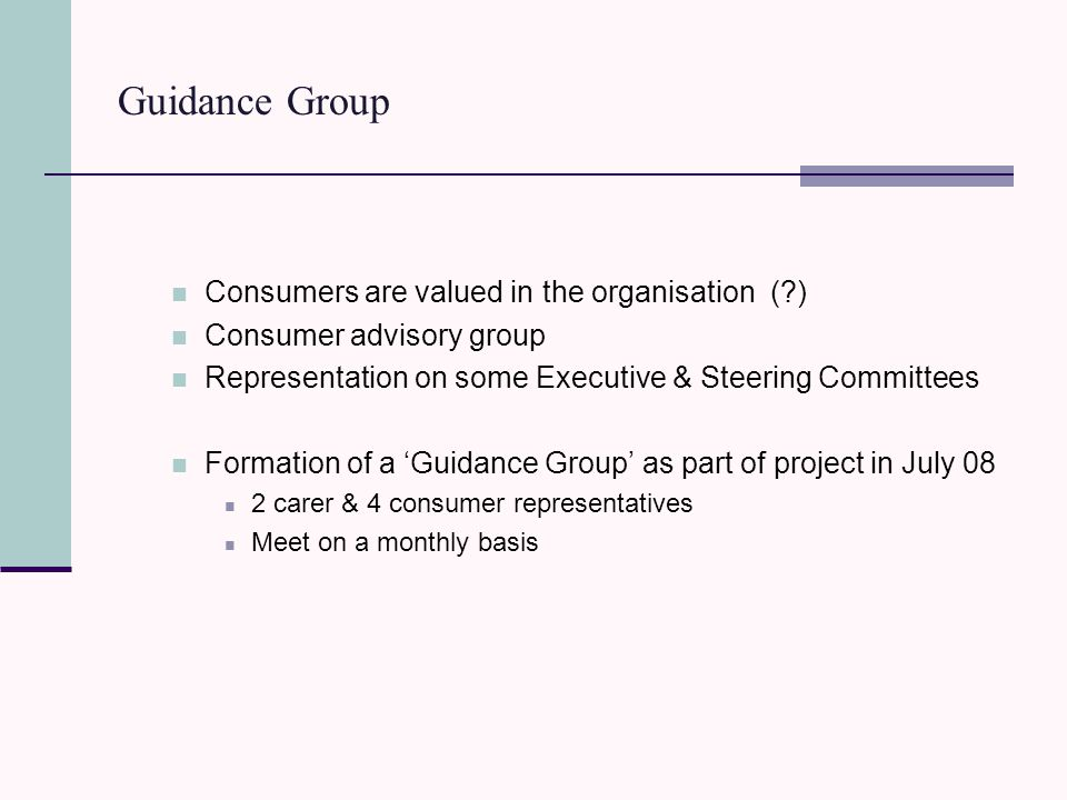 Guidance Group Consumers are valued in the organisation ( ) Consumer advisory group Representation on some Executive & Steering Committees Formation of a 'Guidance Group' as part of project in July 08 2 carer & 4 consumer representatives Meet on a monthly basis