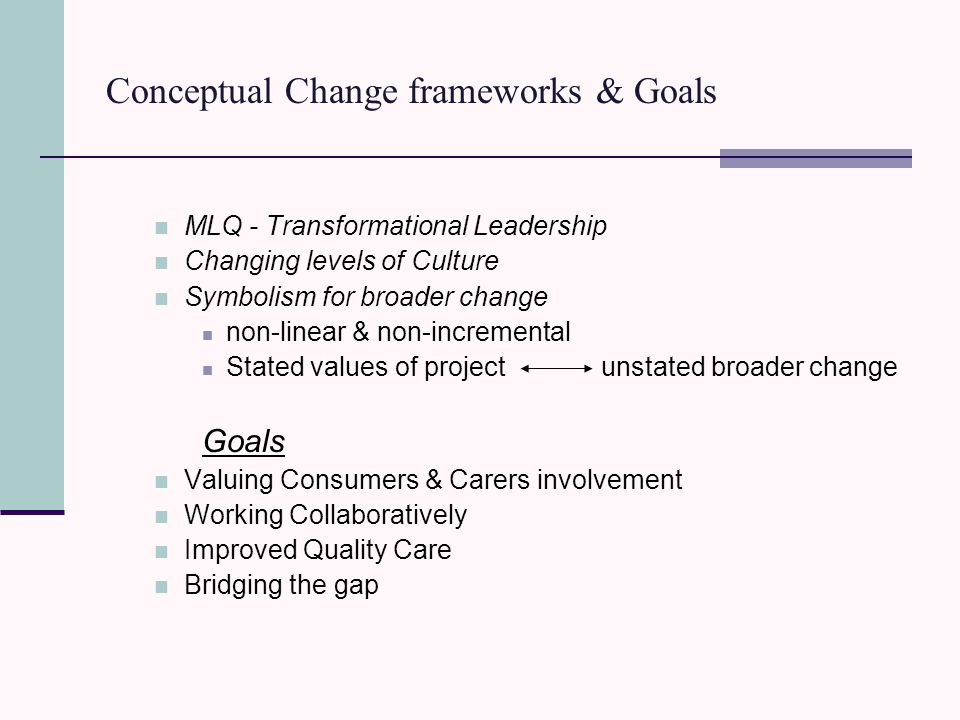Conceptual Change frameworks & Goals MLQ - Transformational Leadership Changing levels of Culture Symbolism for broader change non-linear & non-incremental Stated values of project unstated broader change Goals Valuing Consumers & Carers involvement Working Collaboratively Improved Quality Care Bridging the gap