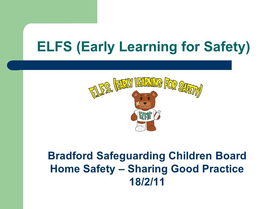 ELFS (Early Learning for Safety) Bradford Safeguarding Children Board Home Safety – Sharing Good Practice 18/2/11