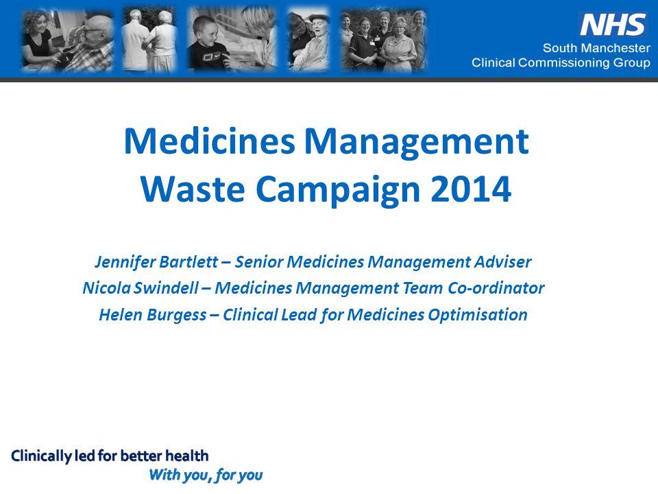 Medicines Management Waste Campaign 2014 Jennifer Bartlett – Senior Medicines Management Adviser Nicola Swindell – Medicines Management Team Co-ordina
