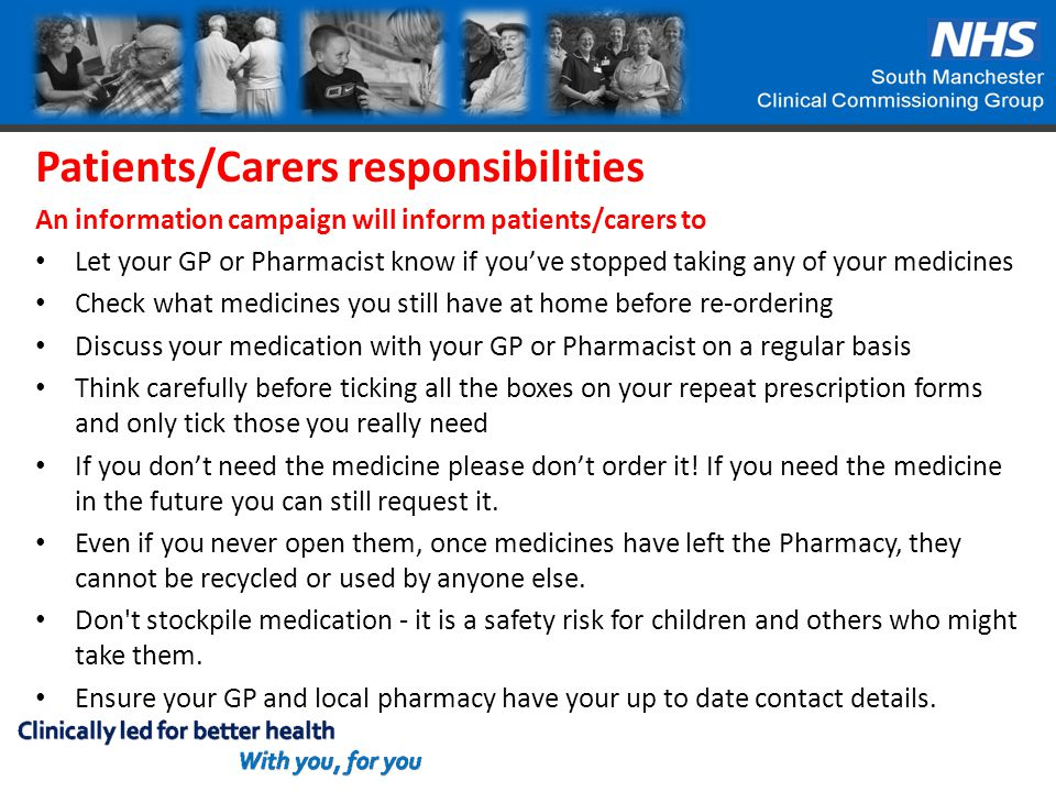Patients/Carers responsibilities An information campaign will inform patients/carers to Let your GP or Pharmacist know if you've stopped taking any of your medicines Check what medicines you still have at home before re-ordering Discuss your medication with your GP or Pharmacist on a regular basis Think carefully before ticking all the boxes on your repeat prescription forms and only tick those you really need If you don't need the medicine please don't order it.