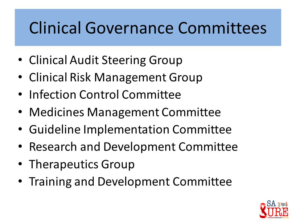 Clinical Governance Committees Clinical Audit Steering Group Clinical Risk Management Group Infection Control Committee Medicines Management Committee