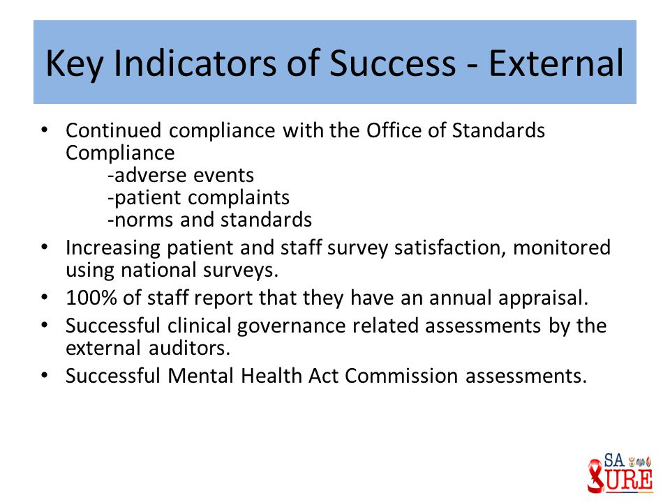 Key Indicators of Success - External Continued compliance with the Office of Standards Compliance -adverse events -patient complaints -norms and stand