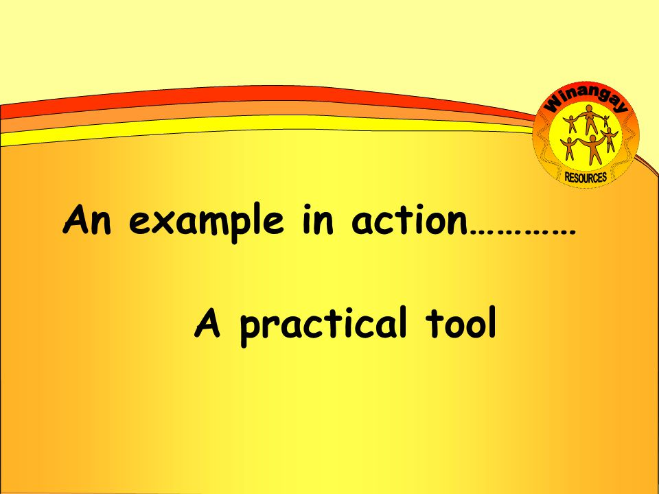 An example in action………… A practical tool