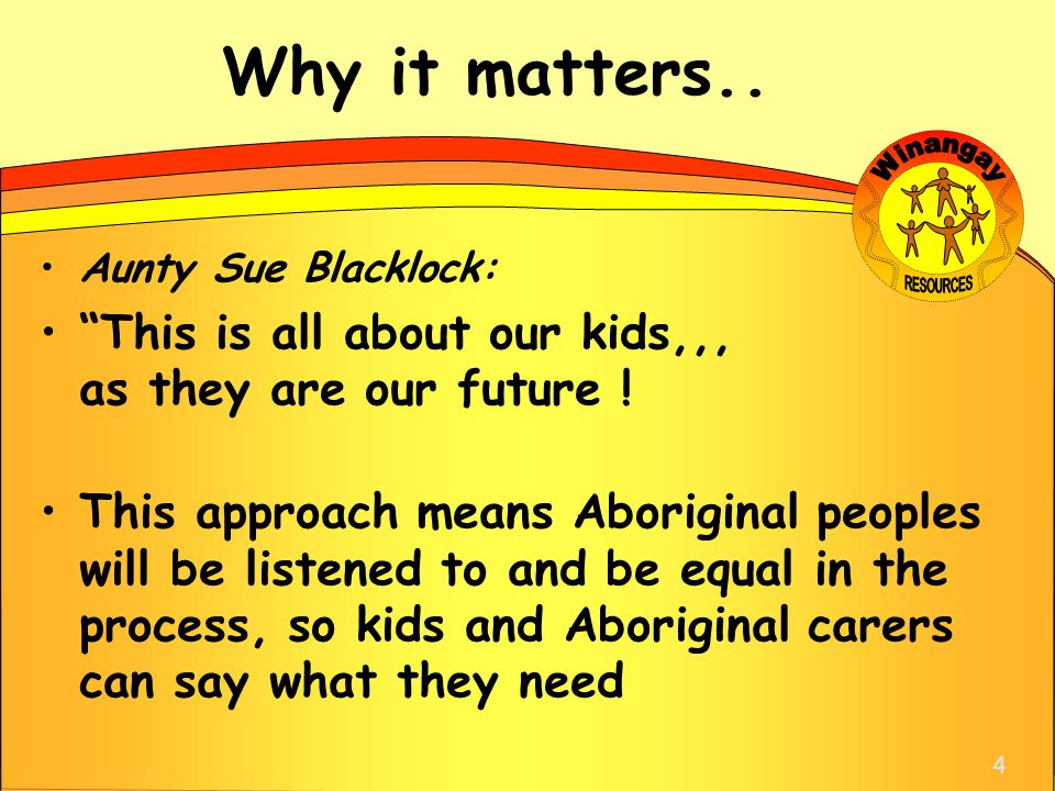 "Why it matters.. Aunty Sue Blacklock: ""This is all about our kids,,, as they are our future ! This approach means Aboriginal peoples will be listened"