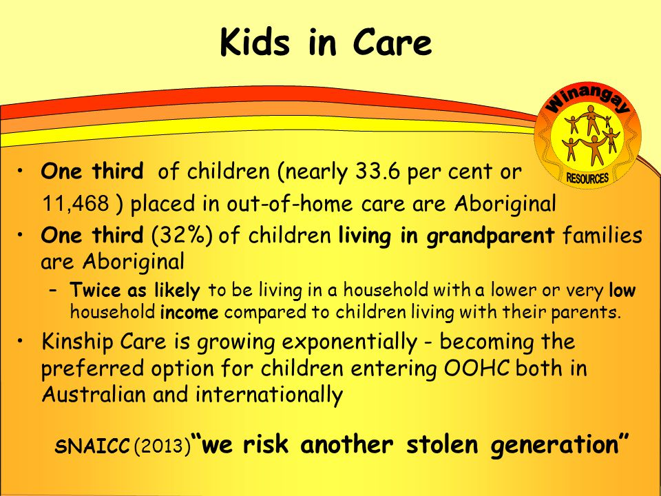 Kids in Care One third of children (nearly 33.6 per cent or 11,468 ) placed in out-of-home care are Aboriginal One third (32%) of children living in grandparent families are Aboriginal –Twice as likely to be living in a household with a lower or very low household income compared to children living with their parents.