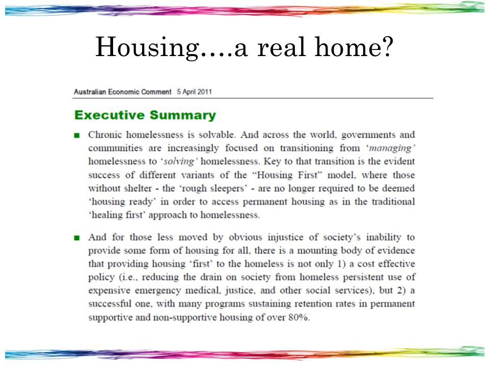 Housing….a real home?