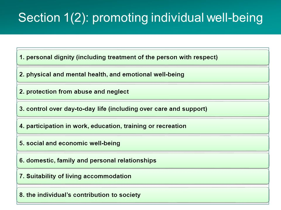 Section 1(2): well-being checklist Individual well- being Assumption that the person is the best judge of their well-being The person's views, wishes and feelings Have regard to all the adult's circumstances Full participation in decision making Balance with well-being of carers Protect from abuse and neglect Minimum restrictions