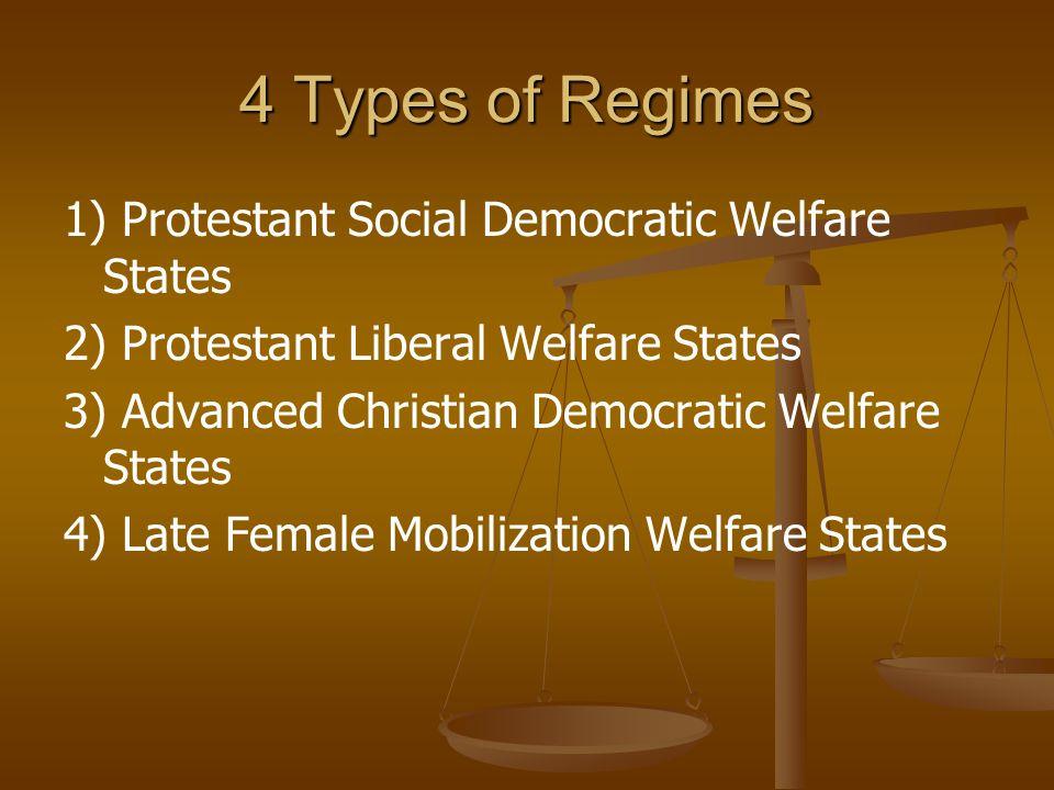 4 Types of Regimes 1) Protestant Social Democratic Welfare States 2) Protestant Liberal Welfare States 3) Advanced Christian Democratic Welfare States