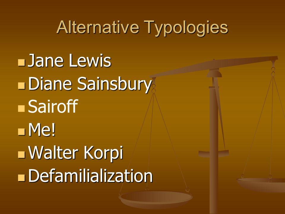 Alternative Typologies Jane Lewis Jane Lewis Diane Sainsbury Diane Sainsbury Sairoff Me! Me! Walter Korpi Walter Korpi Defamilialization Defamilializa