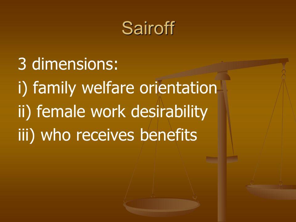 Sairoff 3 dimensions: i) family welfare orientation ii) female work desirability iii) who receives benefits