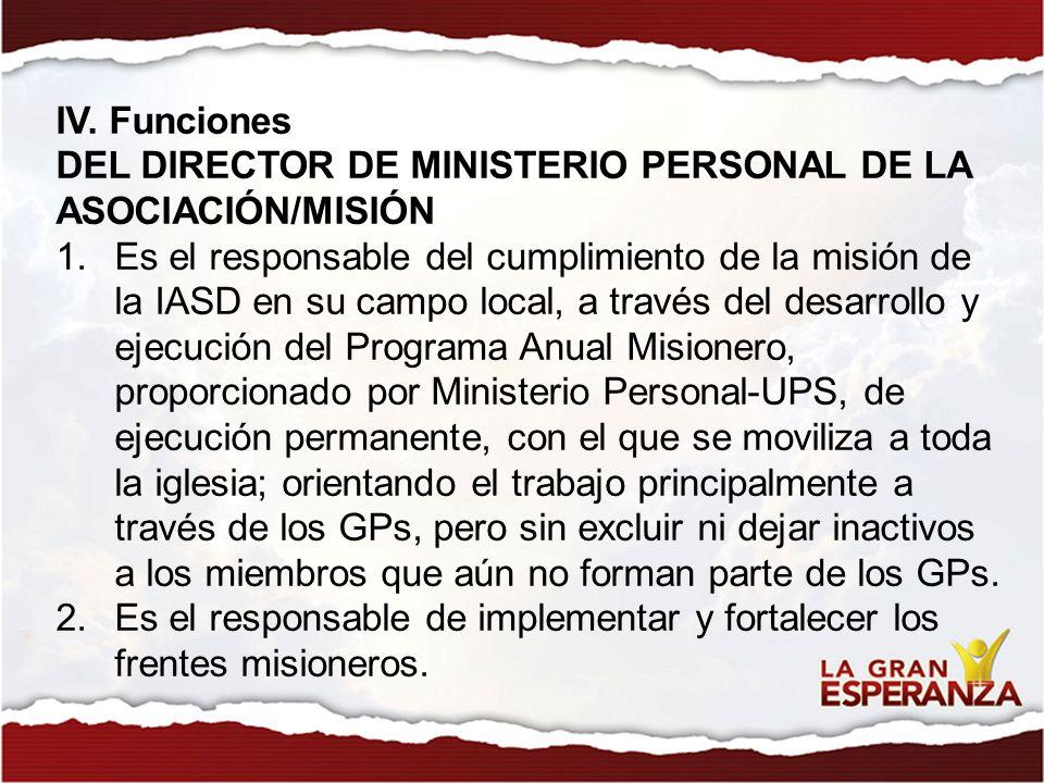 IV. Funciones DEL DIRECTOR DE MINISTERIO PERSONAL DE LA ASOCIACIÓN/MISIÓN 1.Es el responsable del cumplimiento de la misión de la IASD en su campo loc