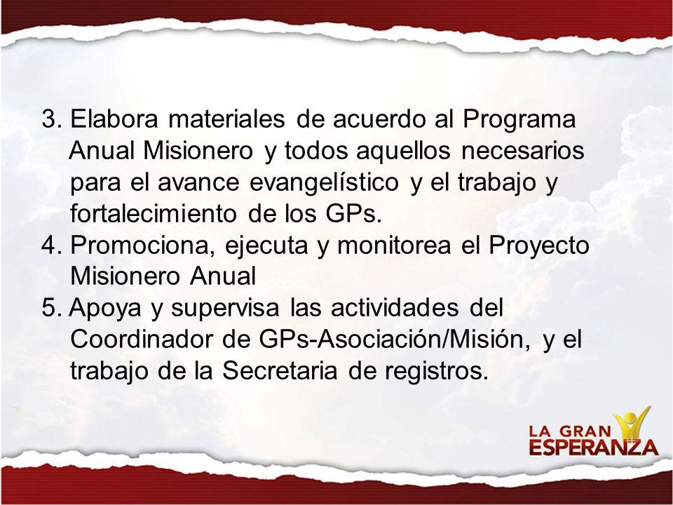 3. Elabora materiales de acuerdo al Programa Anual Misionero y todos aquellos necesarios para el avance evangelístico y el trabajo y fortalecimiento d