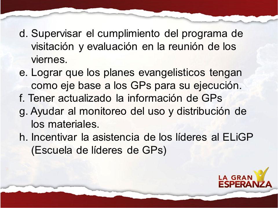 d. Supervisar el cumplimiento del programa de visitación y evaluación en la reunión de los viernes. e. Lograr que los planes evangelisticos tengan com