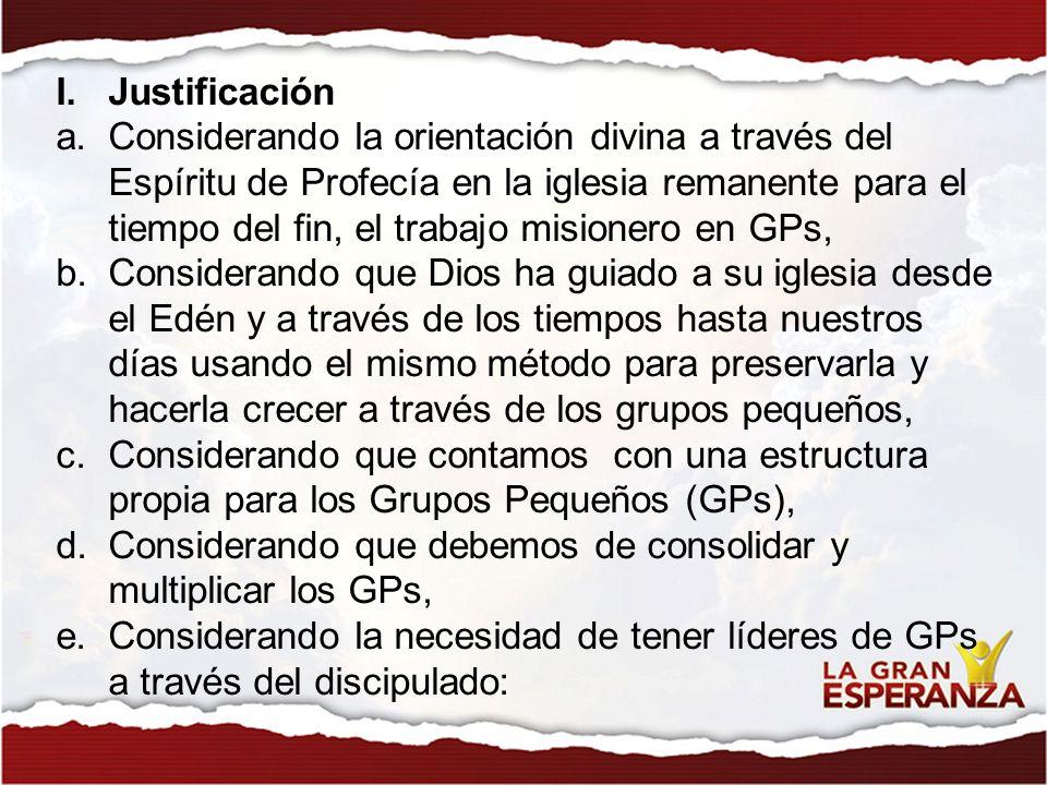 Se propone implementar el proyecto Gerenciamiento de los GPs , en todo el territorio de la Unión Peruana del Sur.