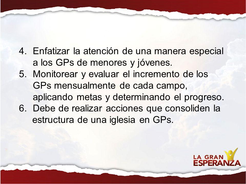 4.Enfatizar la atención de una manera especial a los GPs de menores y jóvenes. 5.Monitorear y evaluar el incremento de los GPs mensualmente de cada ca