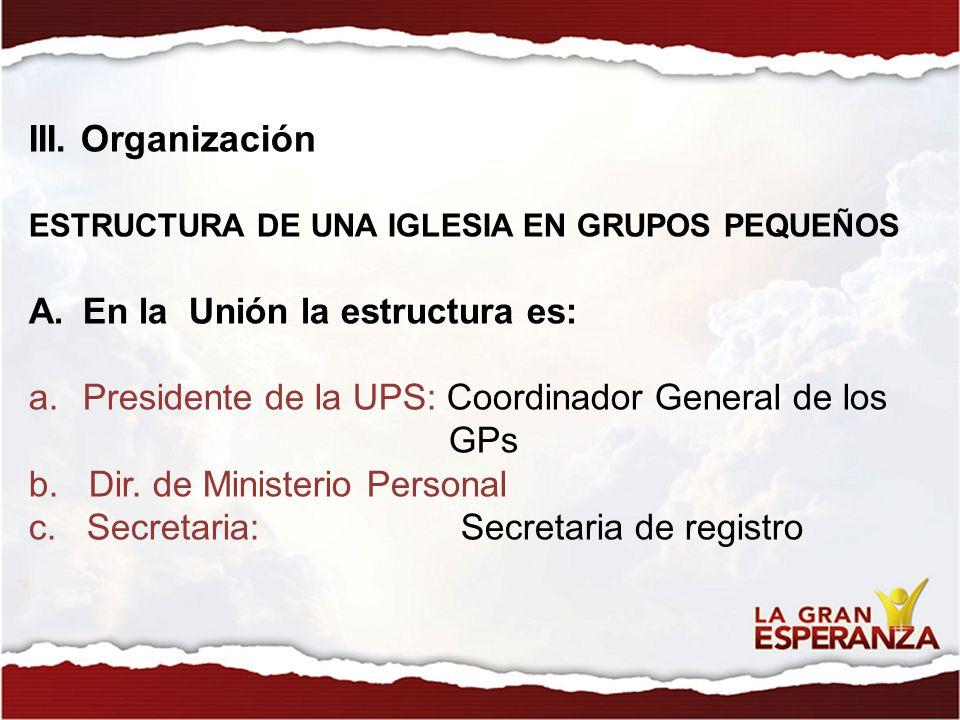 III. Organización ESTRUCTURA DE UNA IGLESIA EN GRUPOS PEQUEÑOS A.En la Unión la estructura es: a.Presidente de la UPS: Coordinador General de los GPs