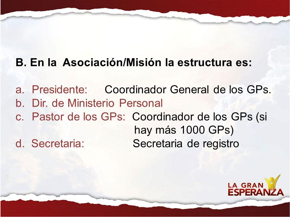 B. En la Asociación/Misión la estructura es: a.Presidente: Coordinador General de los GPs. b.Dir. de Ministerio Personal c.Pastor de los GPs: Coordina