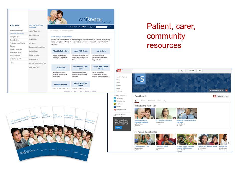 Patient, carer, community resources