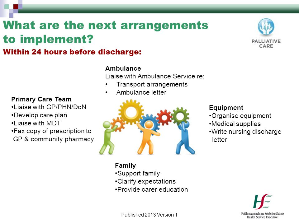 Published 2013 Version 1 What are the next arrangements to implement? Primary Care Team Liaise with GP/PHN/DoN Develop care plan Liaise with MDT Fax c