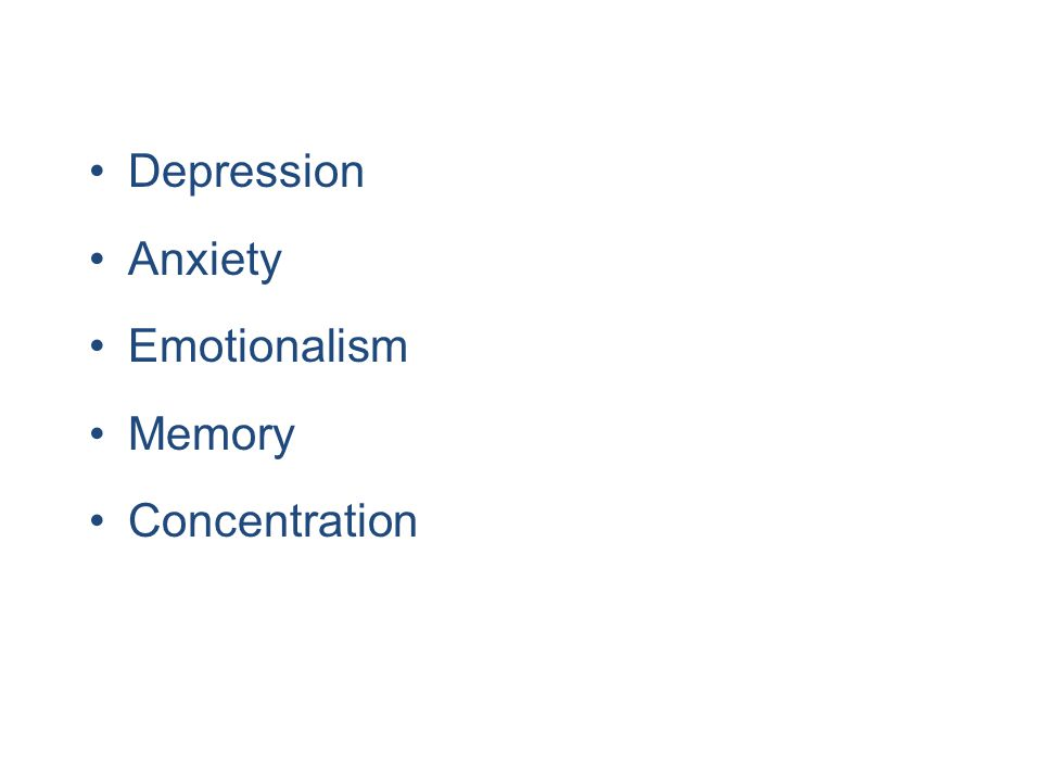 Depression Anxiety Emotionalism Memory Concentration