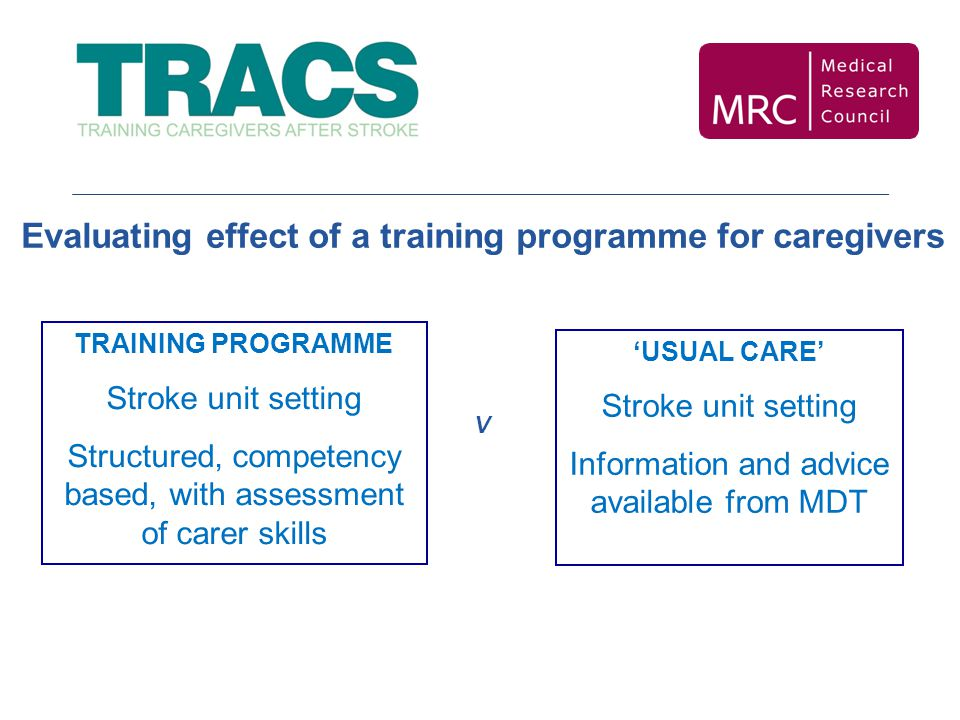 Evaluating effect of a training programme for caregivers TRAINING PROGRAMME Stroke unit setting Structured, competency based, with assessment of carer skills V 'USUAL CARE' Stroke unit setting Information and advice available from MDT