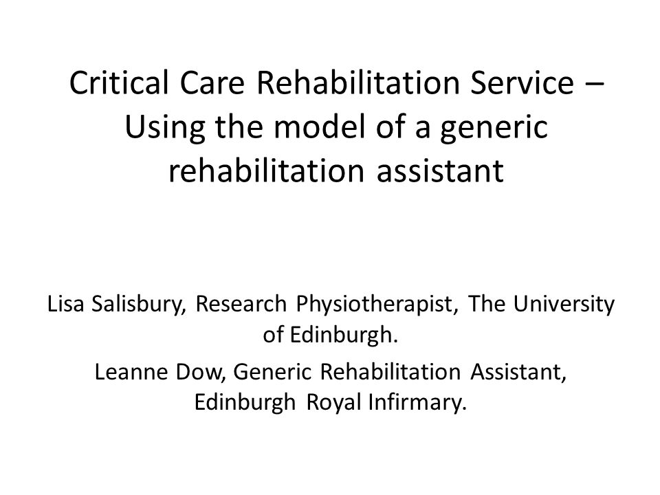 Content Background to the rehabilitation service – RECOVER study Generic Rehabilitation Assistant – Role – Challenges Patient/Carer Feedback
