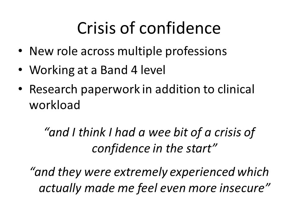 Crisis of confidence New role across multiple professions Working at a Band 4 level Research paperwork in addition to clinical workload and I think I had a wee bit of a crisis of confidence in the start and they were extremely experienced which actually made me feel even more insecure