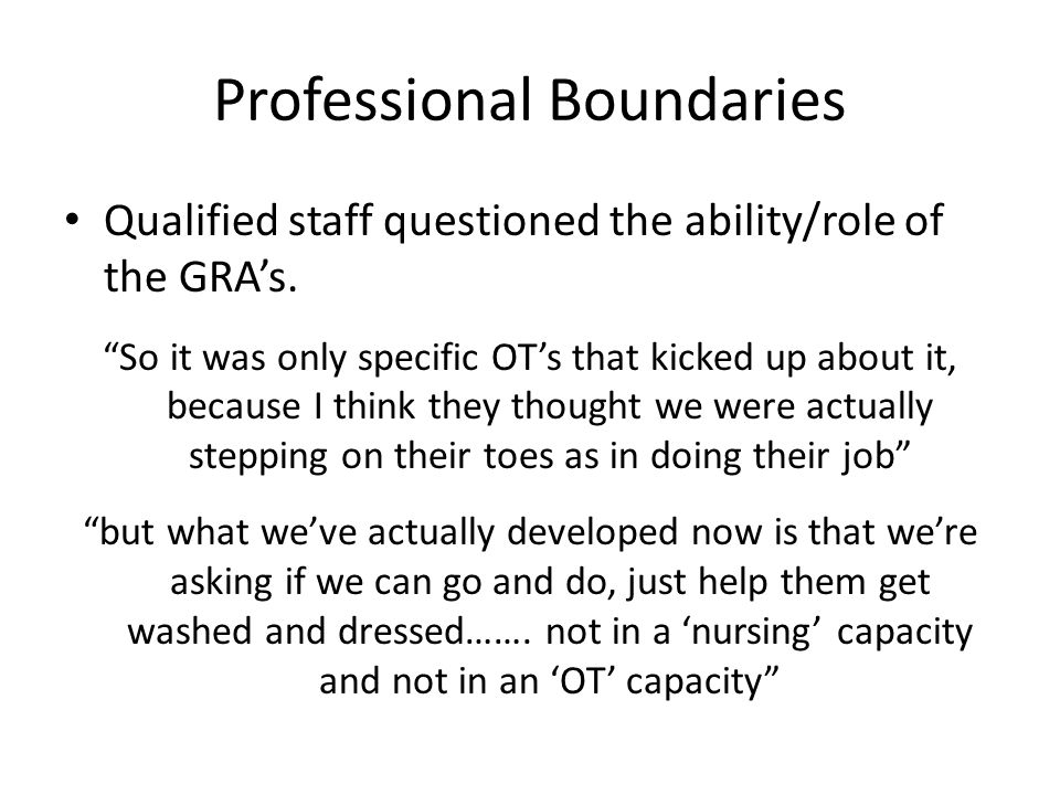 Professional Boundaries Qualified staff questioned the ability/role of the GRA's.