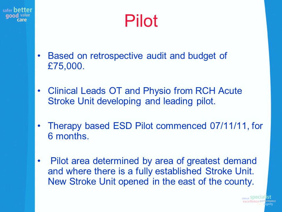 Pilot Based on retrospective audit and budget of £75,000. Clinical Leads OT and Physio from RCH Acute Stroke Unit developing and leading pilot. Therap