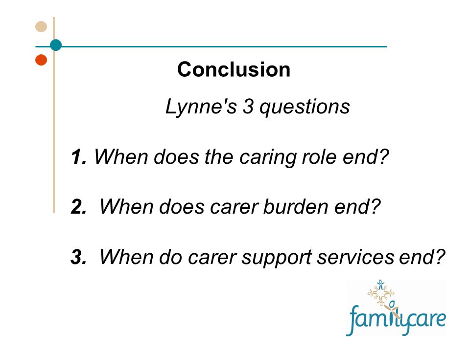 Conclusion Lynne s 3 questions 1. When does the caring role end.