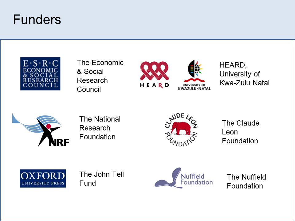 Collaborative research: Science to inform Policy Young Carers Project Orphan longitudinal Project Universities: Oxford, Wits, UCT, UKZN NACCA, NGOs e.g.
