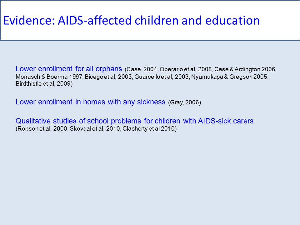 AIDS-affected children and education: Longitudinal methods Sampling W.Cape (2005) W.Cape, Gauteng, E.Cape (2009) Comparing AIDS-orphaned/other-orphaned/non-orphaned children 2005: N=1025 (aged 10-18); 2009: N=730 (aged 14-22) Measurements Standardised psychological scales, national surveys (census, DHS etc) Verbal autopsy method (sensitivity 83%, specificity 75%) Panel analysis techniques Paired t-tests, regressor covariance, log-linear modelling Demographics 2005: 10-19 yrs; 2009: 14-23 yrs (47% female; 97% Xhosa) Unable to trace More male (p<.05), older (p<.03), informal housing (p<.02) Higher 2005 depression (p<.001), anxiety (p<.01), PTSD (p<.05)