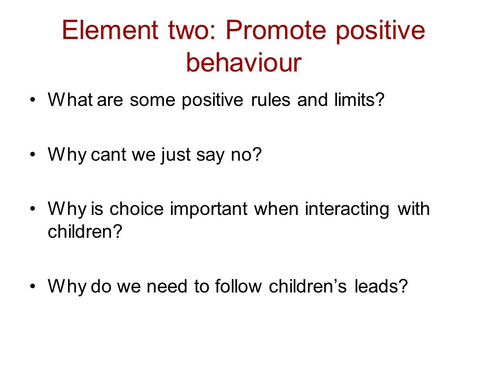 Element two: Promote positive behaviour What are some positive rules and limits? Why cant we just say no? Why is choice important when interacting wit
