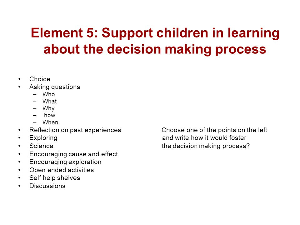 Element 5: Support children in learning about the decision making process Choice Asking questions –Who –What –Why – how –When Reflection on past exper