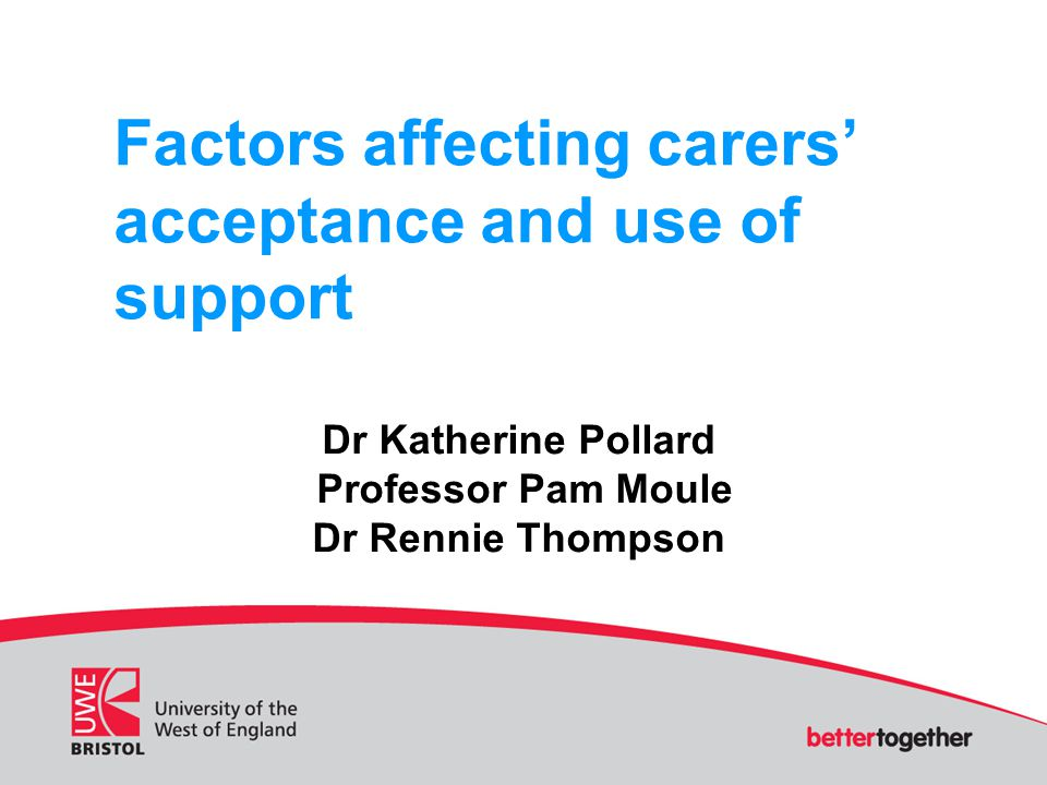 Factors affecting carers' acceptance and use of support Dr Katherine Pollard Professor Pam Moule Dr Rennie Thompson